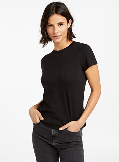 Organic cotton cropped crew-neck tee