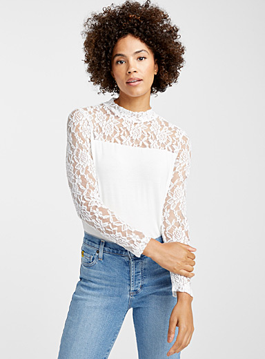 Lace sleeve mock-neck tee