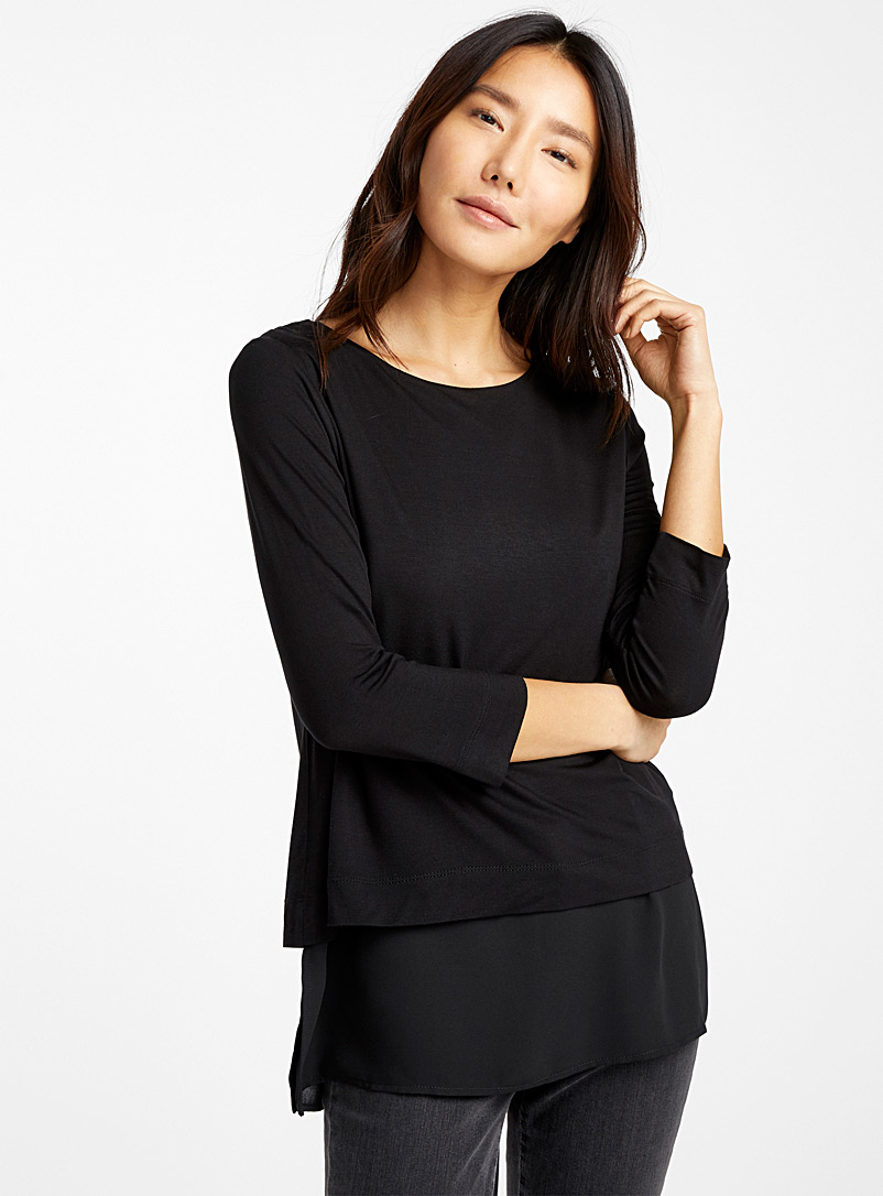 Contemporaine Black Two-tier patterned tunic for women