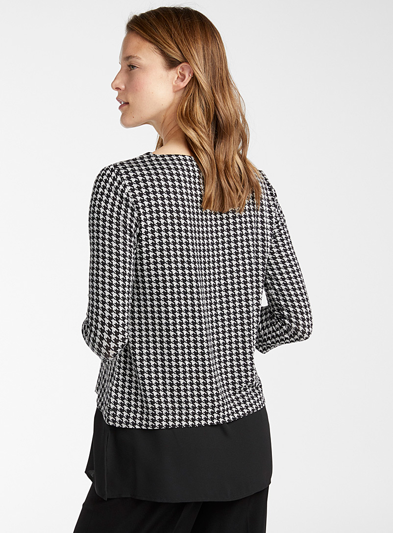 Contemporaine Patterned Grey Two-tier patterned tunic for women