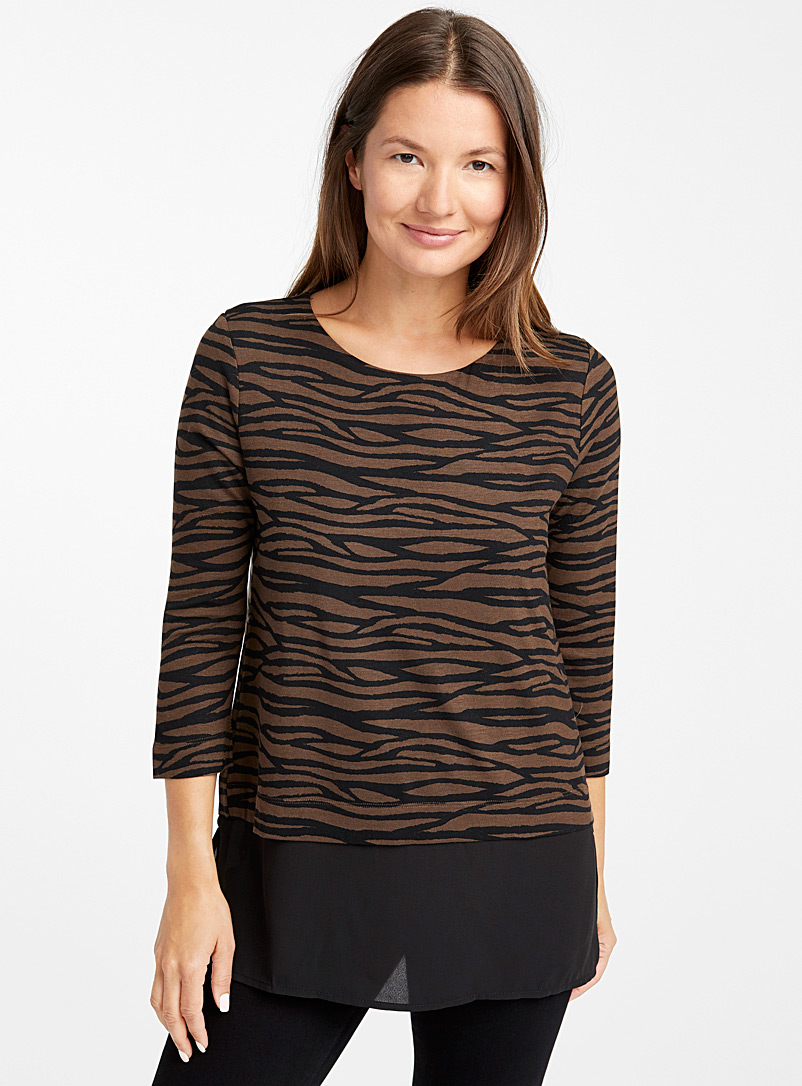 Two-tier patterned tunic - Short Sleeves & ¾ Sleeves - Patterned Black