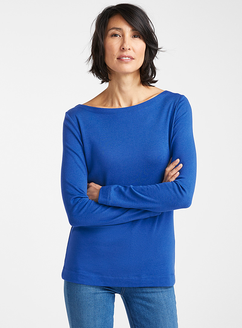 Contemporaine Patterned Blue Modal-cotton boat-neck tee for women