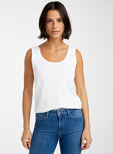 Contemporaine White SUPIMA® cotton tank top for women