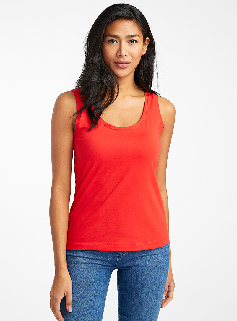 Durable cotton tank top - Basic - Red