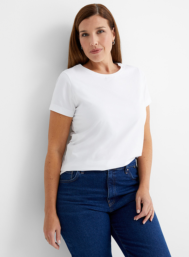 Contemporaine White SUPIMA® cotton short-sleeve tee for women
