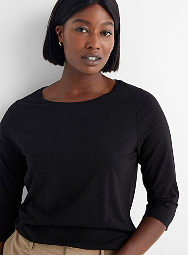 Contemporaine Black SUPIMA® cotton boat-neck tee for women