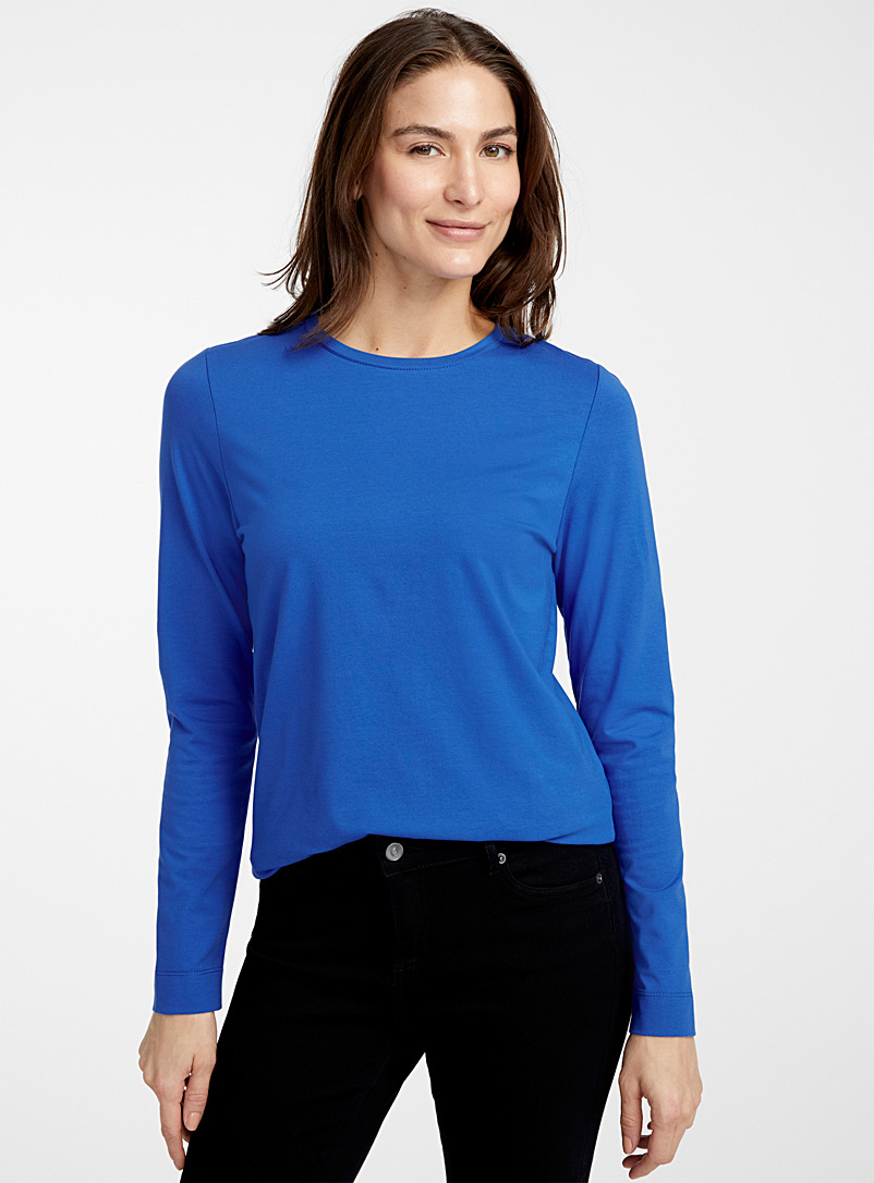 Durable cotton long-sleeve tee - Basic - Sapphire Blue