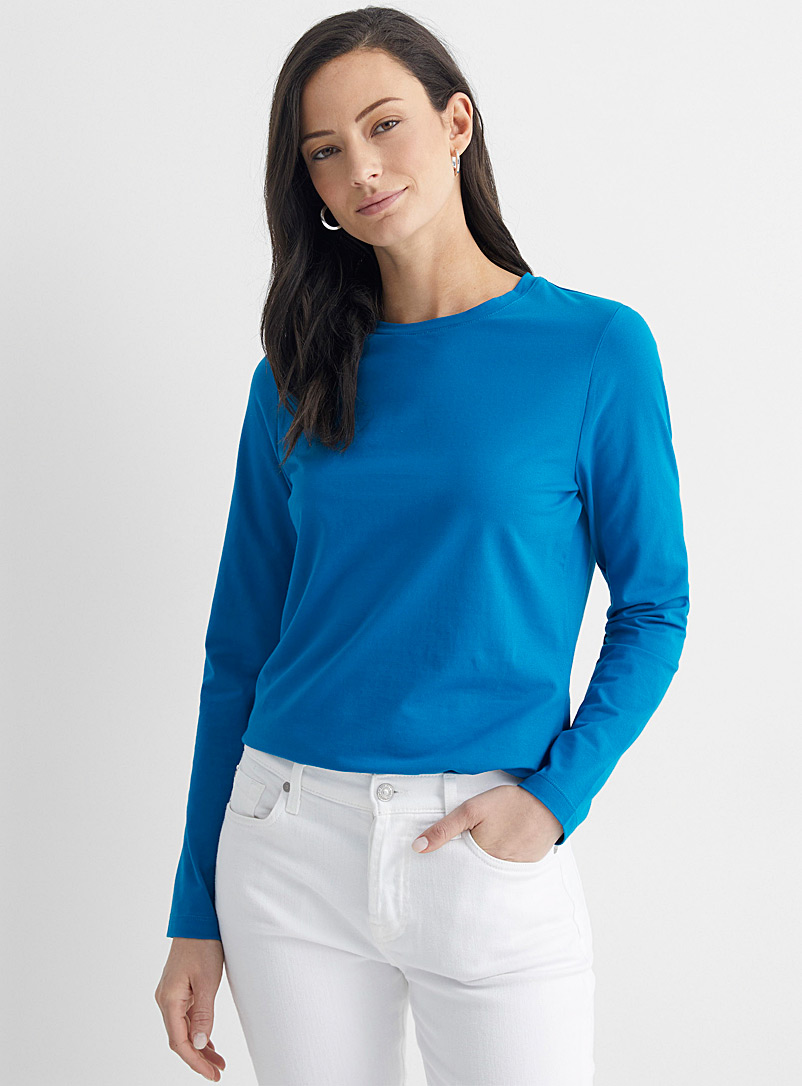 Contemporaine Assorted SUPIMA® cotton long-sleeve tee for women