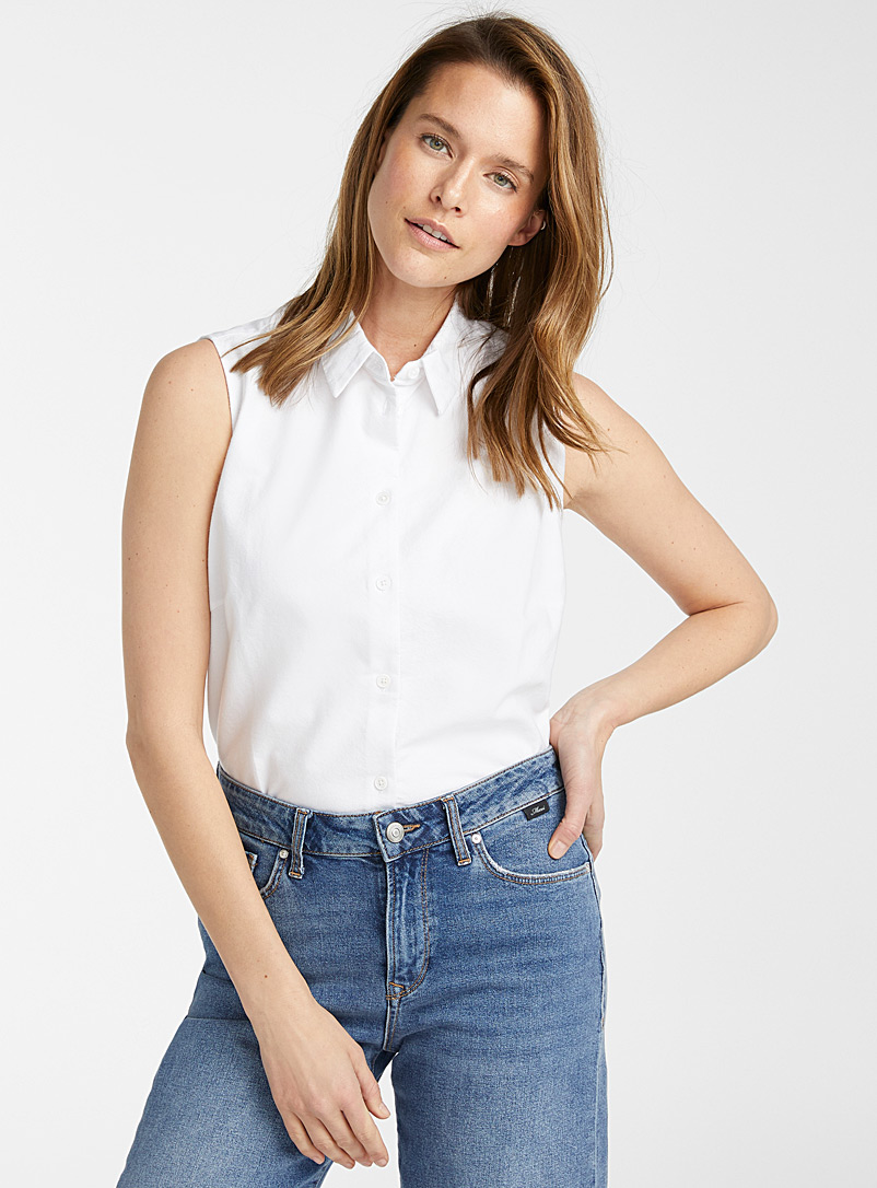 Contemporaine White Sleeveless Oxford shirt for women