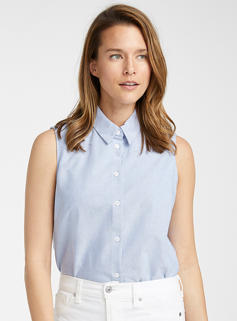 Contemporaine Baby Blue Sleeveless Oxford shirt for women