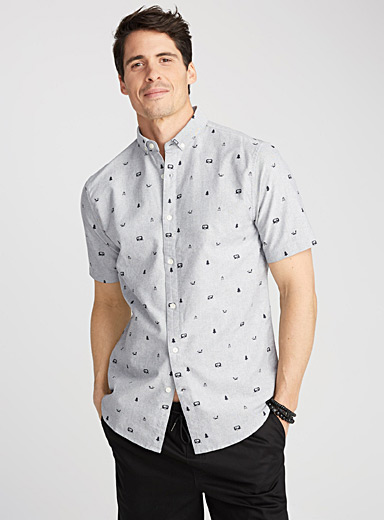 Vacation pattern oxford shirt  Semi-tailored fit