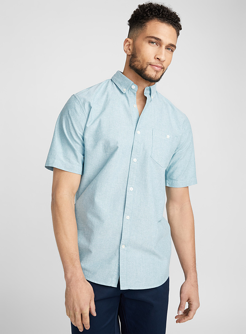 Blue oxford shirt  Modern fit - Solid - Green