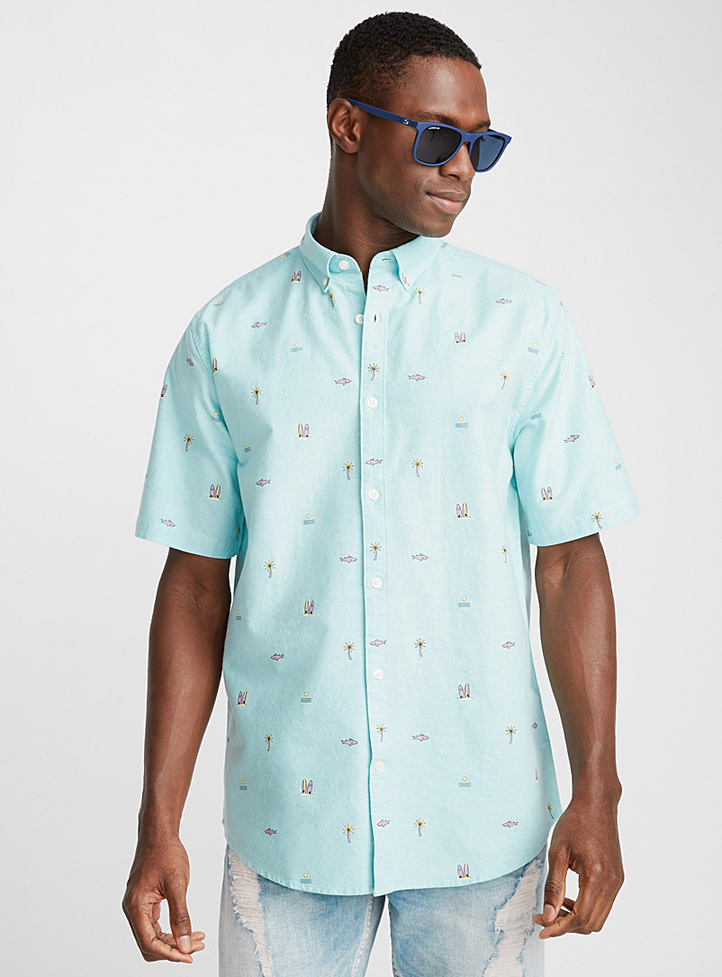 Summery oxford shirt  Modern fit - Patterns - Teal