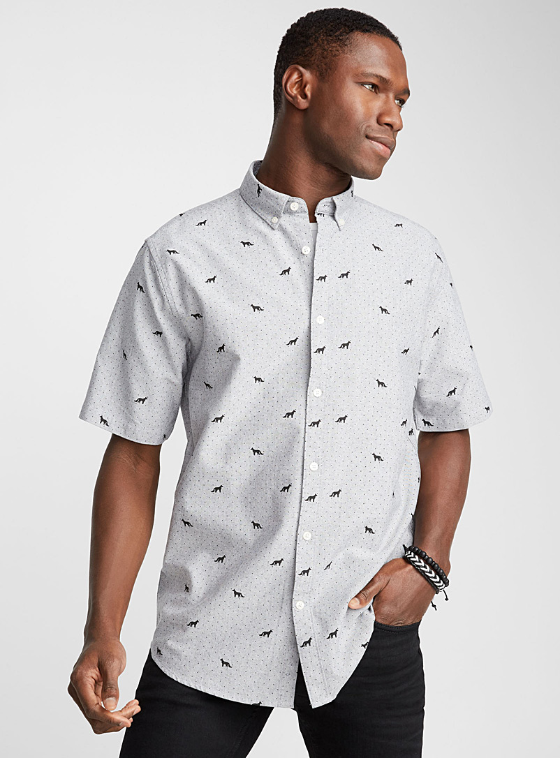 Micro-print oxford shirt  Modern fit - Patterns - Light Grey