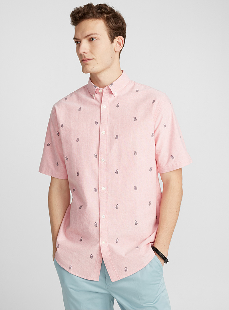Micro-print oxford shirt  Modern fit - Patterns - Coral