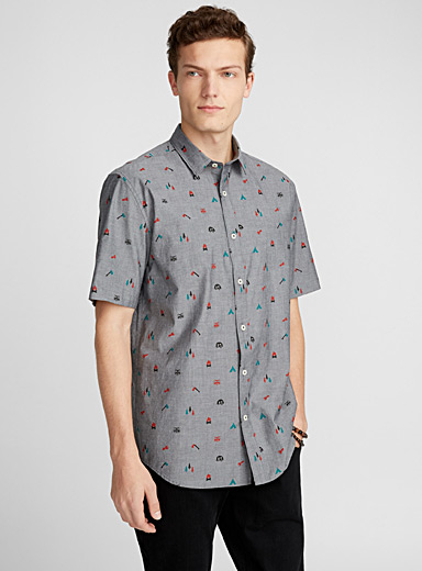 Vacation pattern chambray shirt <br>Modern fit