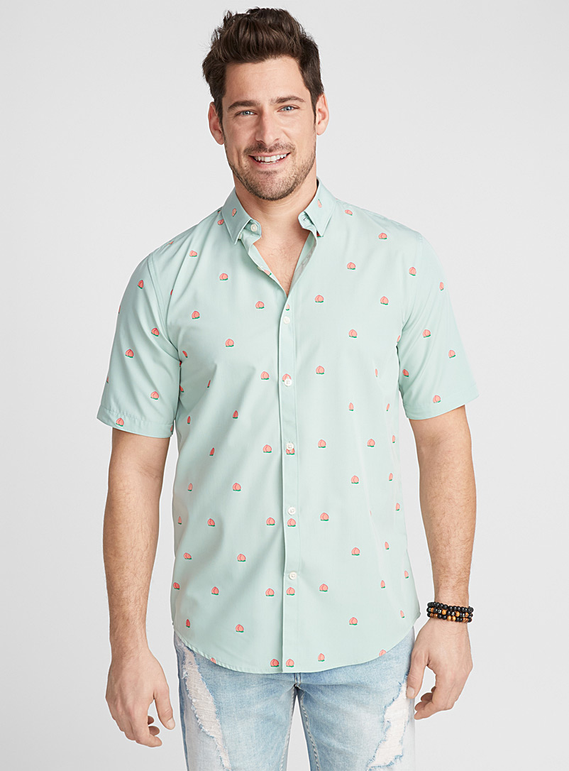 Southern motif shirt  Modern fit - Patterns - Lime Green