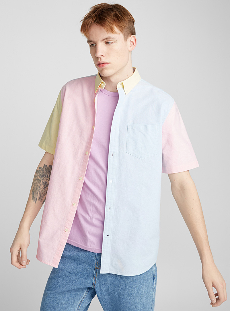 Faded block oxford shirt - Short sleeves - Assorted