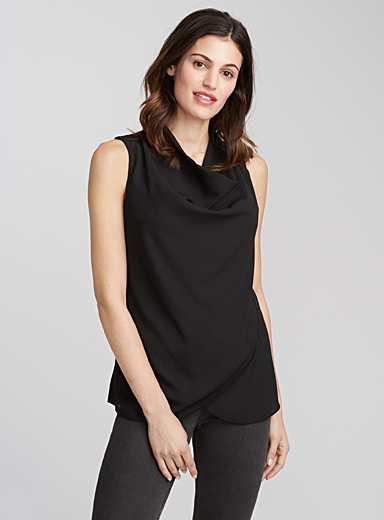 Crossover cowl-neck tank