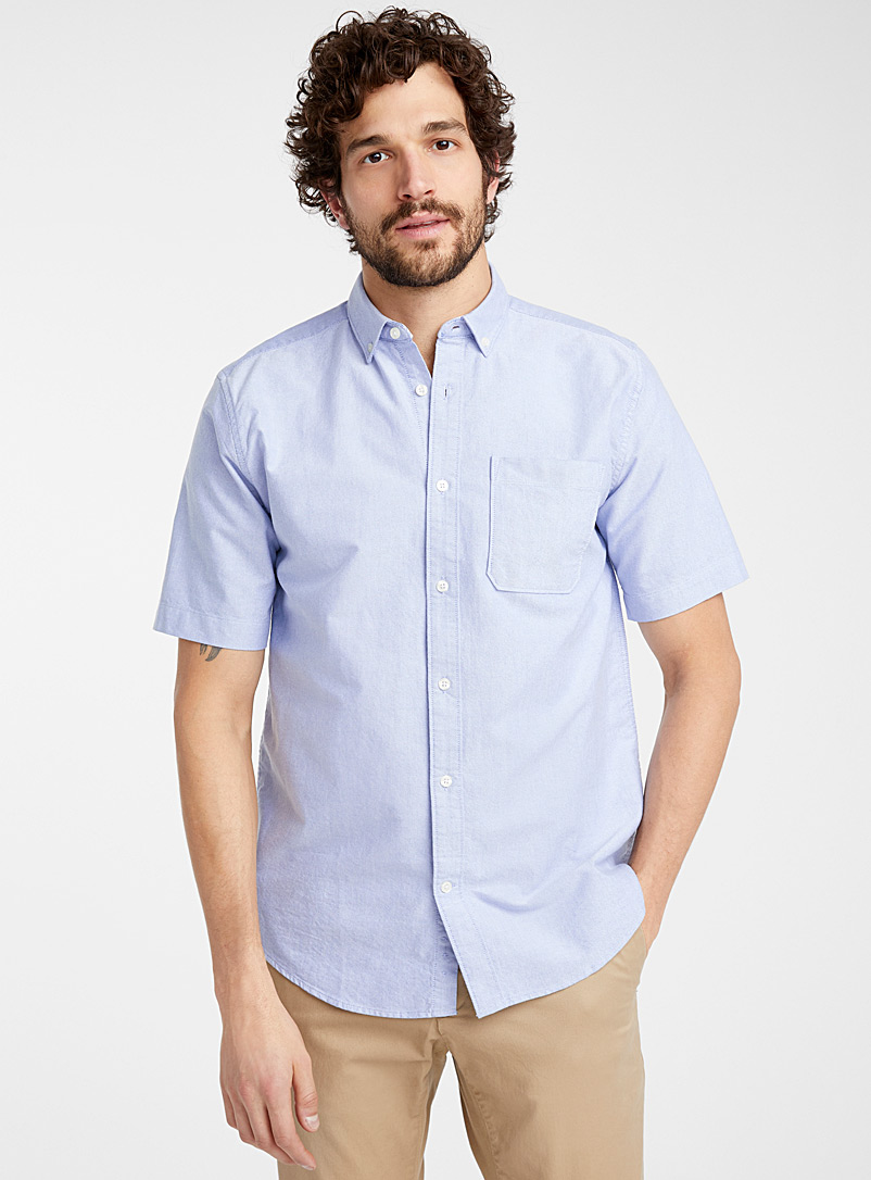 Le 31 Baby Blue Short-sleeve organic cotton Oxford shirt  Modern fit for men