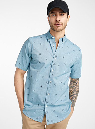 Le 31 Teal Patterned oxford shirt  Modern fit for men