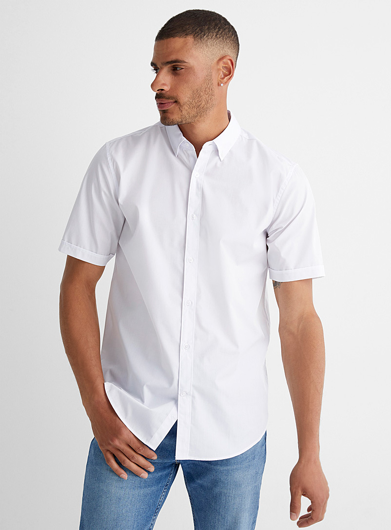 Le 31 White Easy-care solid shirt  Modern fit for men