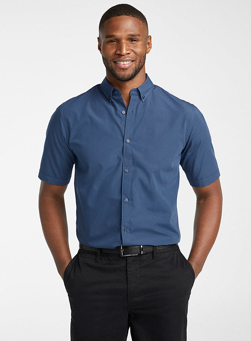 Le 31 Dark Blue Easy-care solid shirt  Modern fit for men