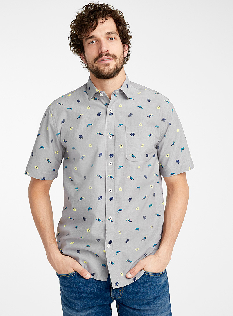 Le 31 Grey Seasonal patterns chambray shirt  Modern fit for men