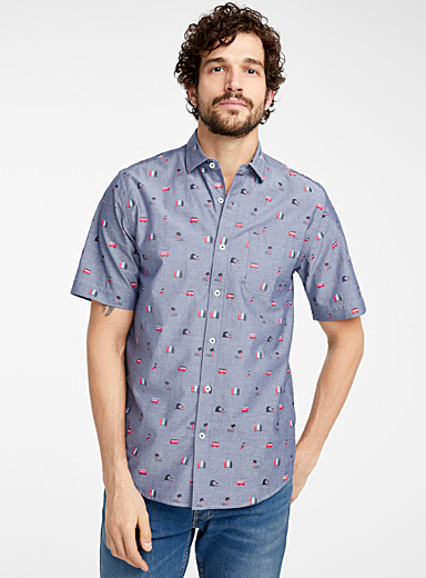 Seasonal patterns chambray shirt <br>Modern fit