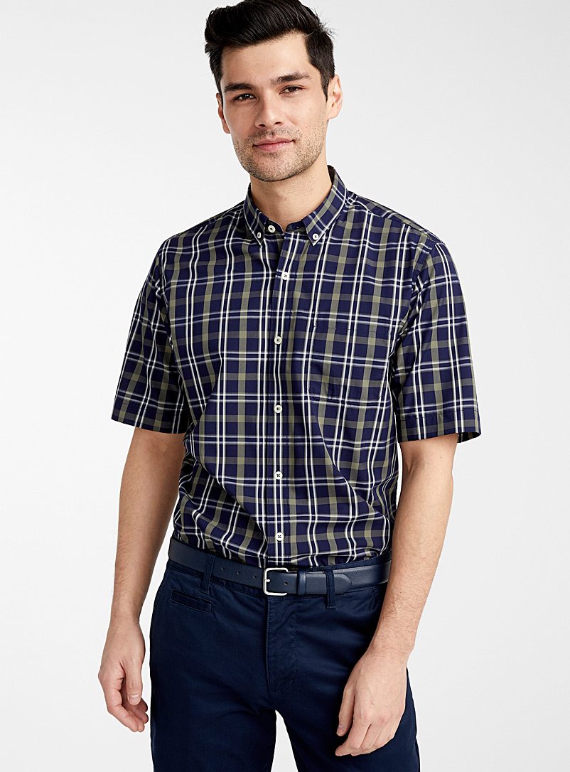 Le 31 Baby Blue Check bamboo poplin shirt Modern fit for men
