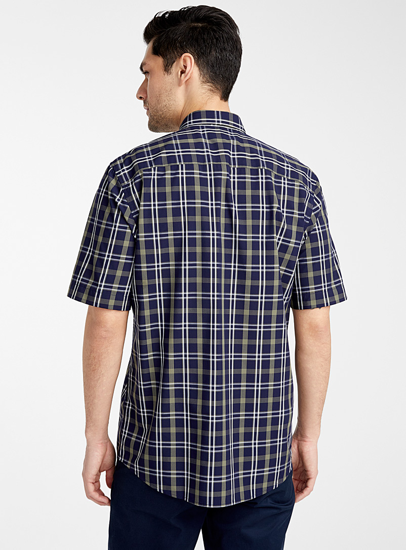 Le 31 Marine Blue Check bamboo poplin shirt  Modern fit for men