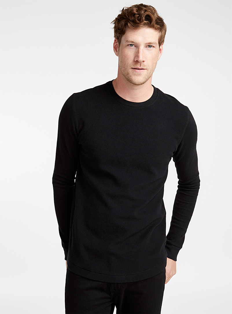Le 31 Black Micro-waffle organic cotton T-shirt for men