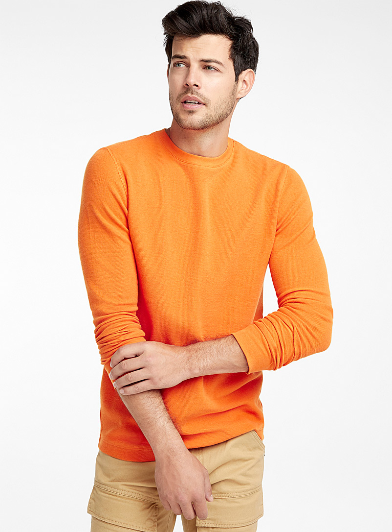 Micro-waffle T-shirt - Long sleeves - Medium Orange