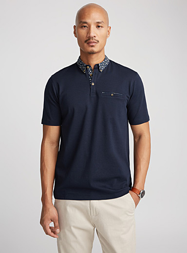 Chic accent-collar polo
