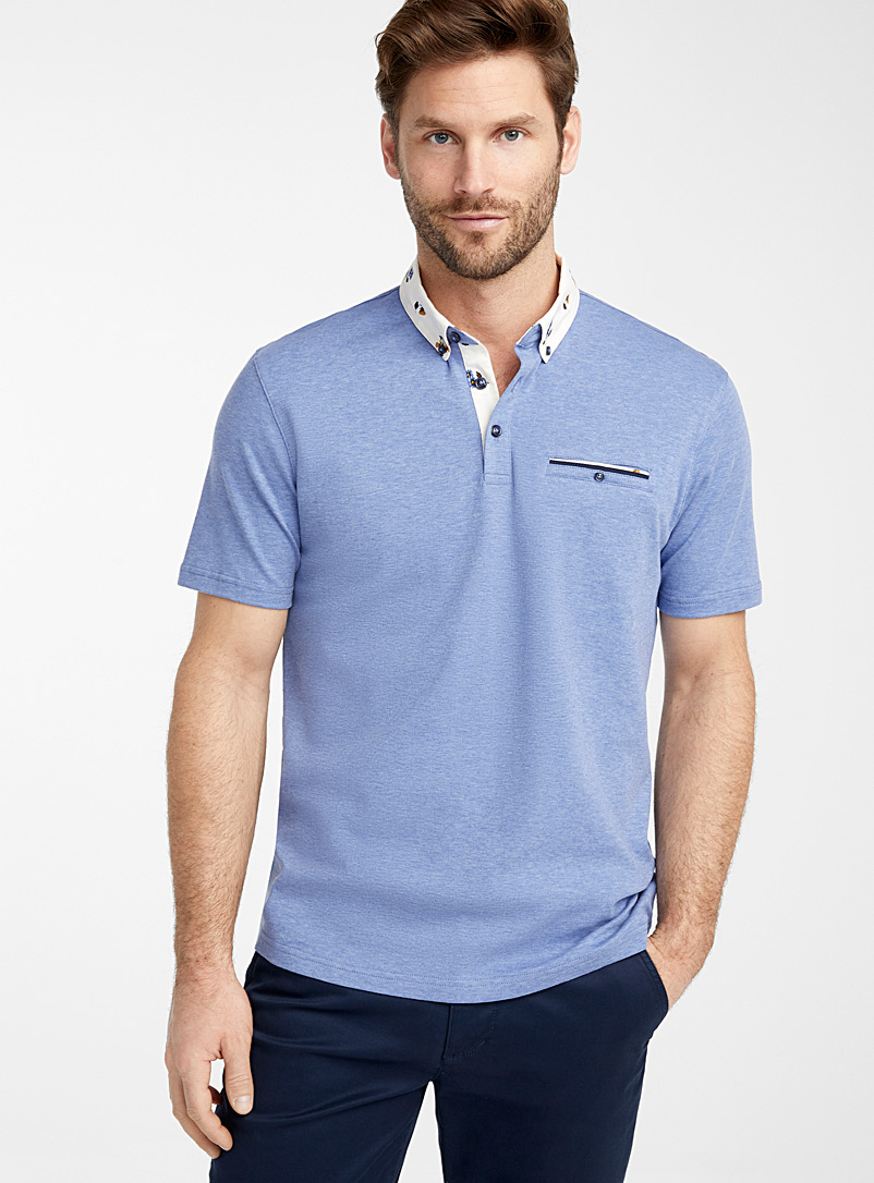 Le 31 Blue Patterned poplin collar liquid cotton polo for men