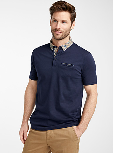 Patterned poplin collar liquid cotton polo
