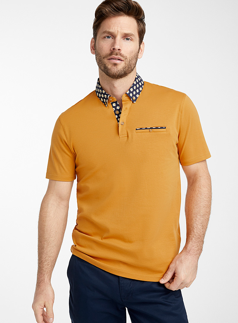 Le 31 Medium Yellow Patterned poplin collar liquid cotton polo for men