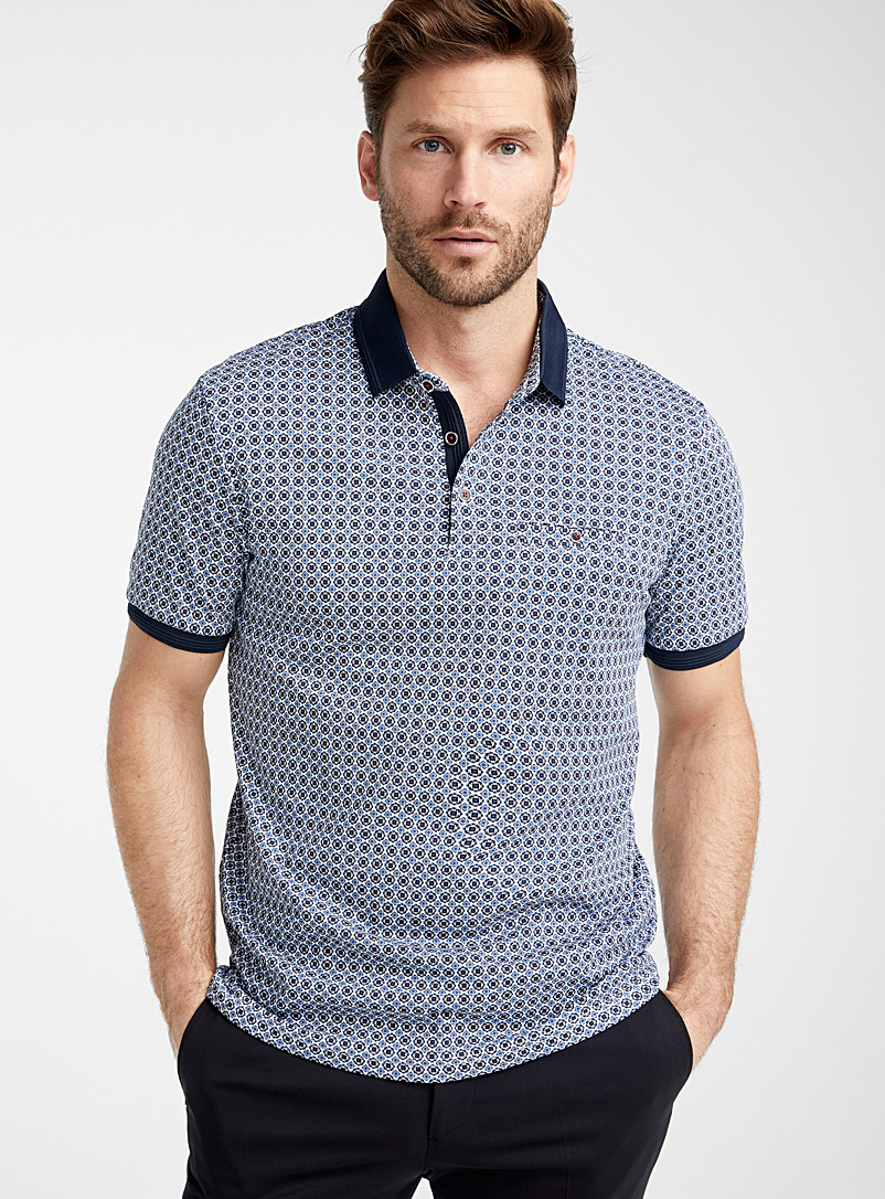 Le 31 White Liquid cotton patterned polo for men