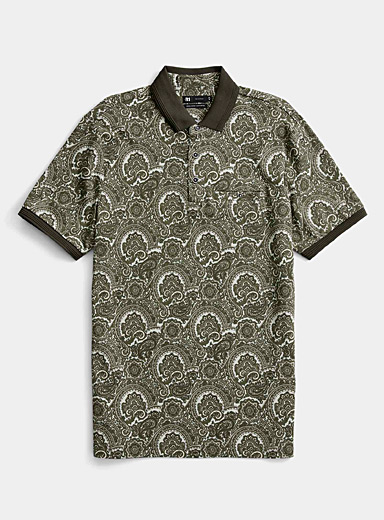 Le 31 Green Patterned liquid cotton polo for men