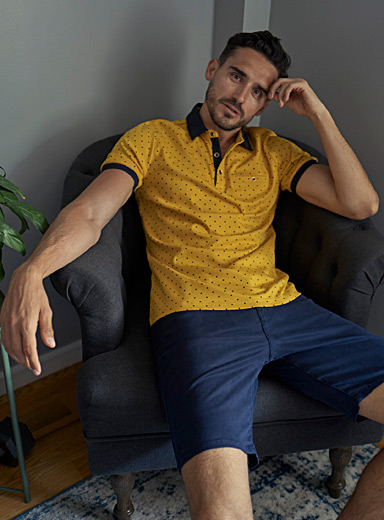 Le 31 Golden Yellow Liquid cotton patterned polo for men