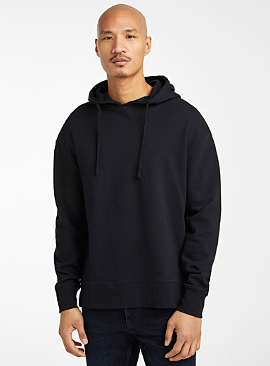 Le 31 Black Organic cotton modern hoodie for men
