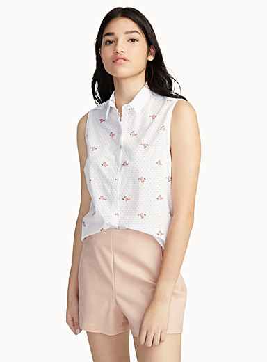 Sleeveless micro print shirt