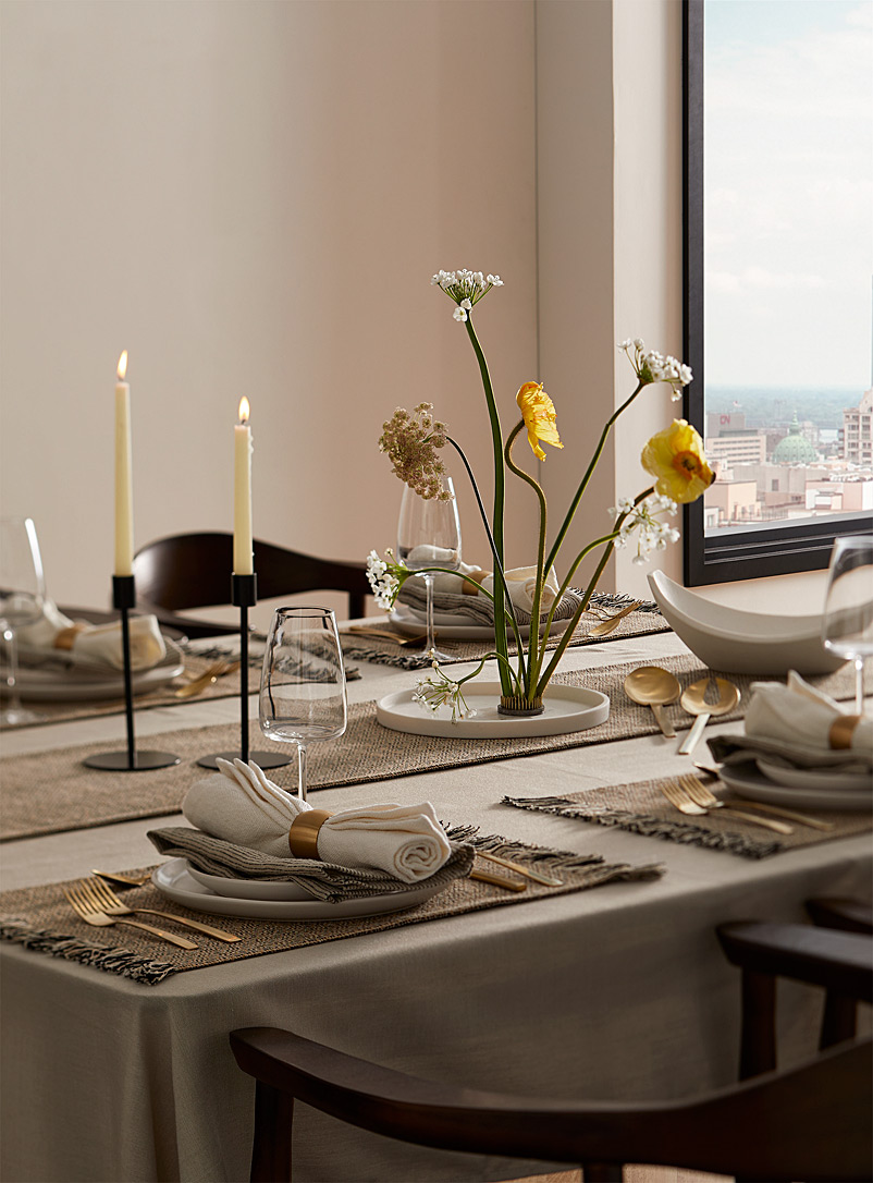 Solid chambray tablecloth