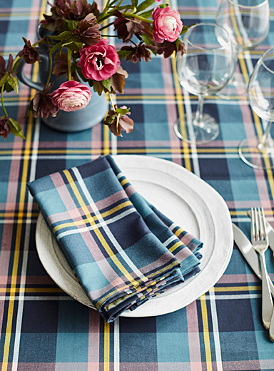 Sam's plaid tablecloth