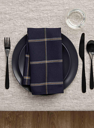 Simons Maison Patterned Blue Ochre check napkin