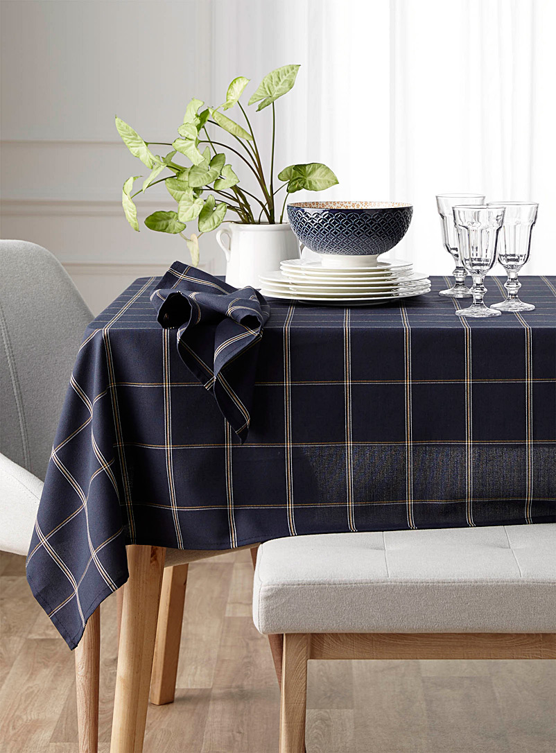 Simons Maison Patterned Blue Ochre check tablecloth