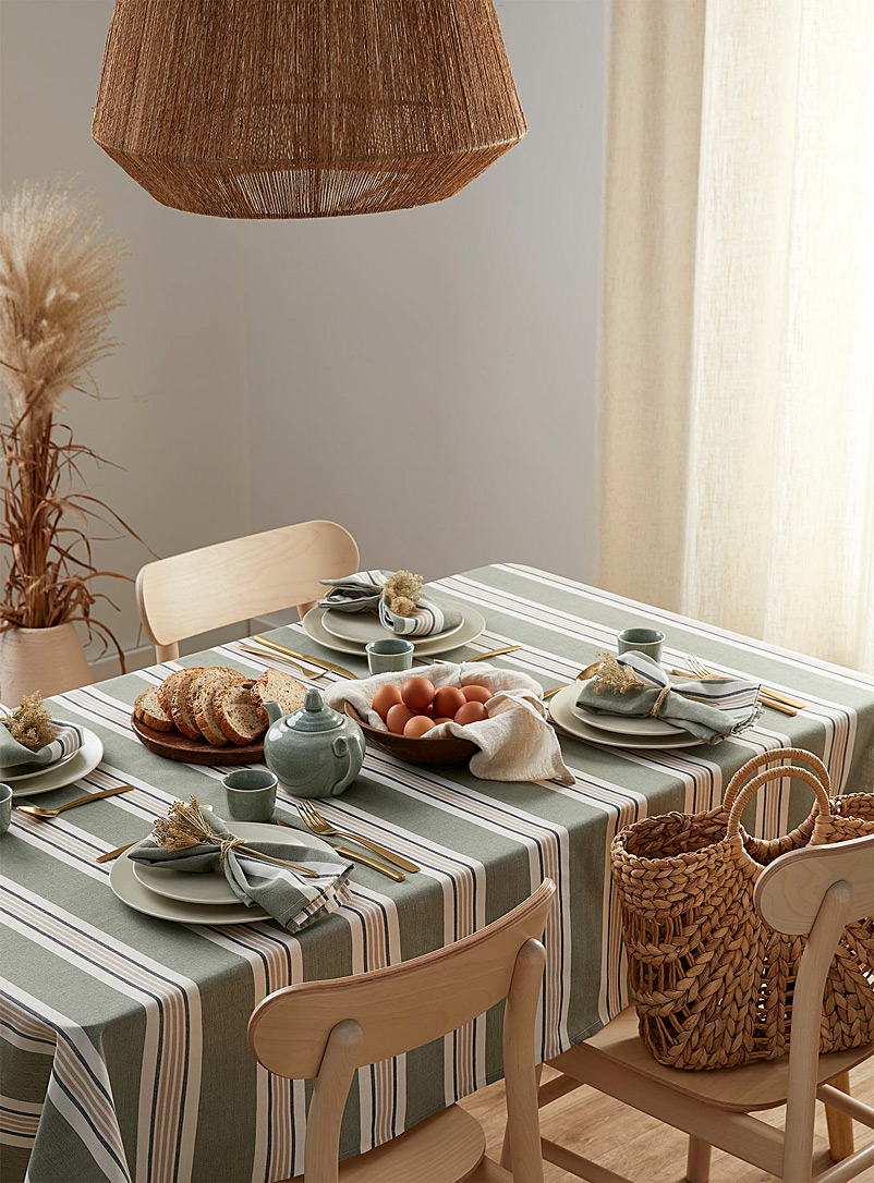 Simons Maison Assorted Sea green striped tablecloth