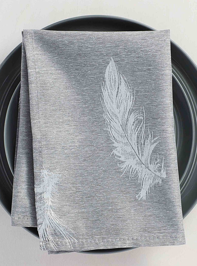 Simons Maison Assorted Silver feather jacquard napkin