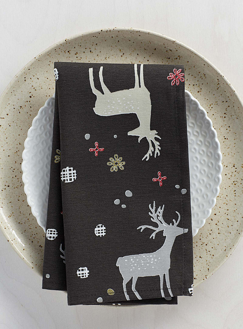 Reindeer forest napkin - Fabric - Assorted