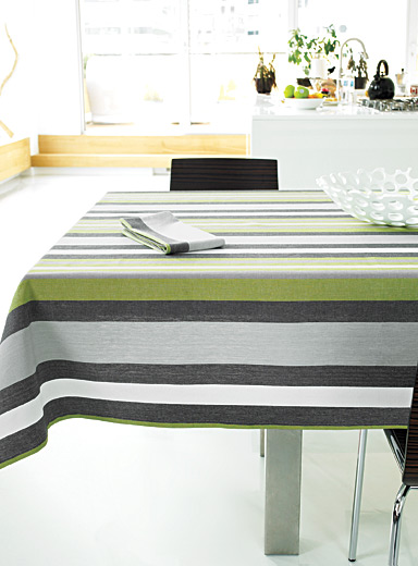 Chambray stripe woven cotton tablecloth